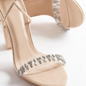 • Nude/Clear/Bling Suede Lace Up Heels